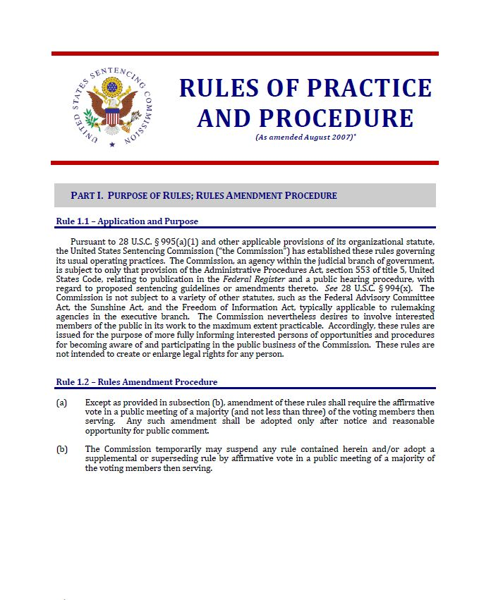 rules of practice and procedure united states sentencing commission